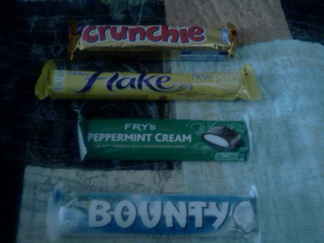 My British candy haul from Lolli and Pops.  I hadn't had a Crunchie par in almost 40 years!